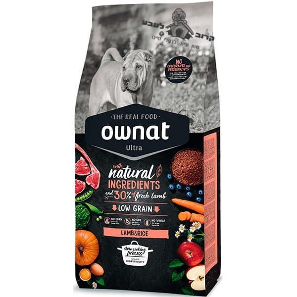 """אוונט – OWNAT אולטרה טלה ואורז מלא לכלבים בוגרים 14 ק""""ג"""