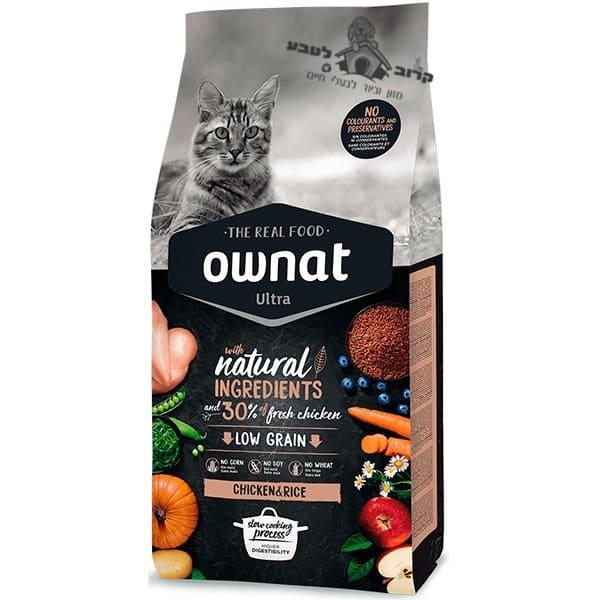 """אוונט – OWNAT אולטרה עוף ואורז מלא לחתולים בוגרים 1.5 ק""""ג"""