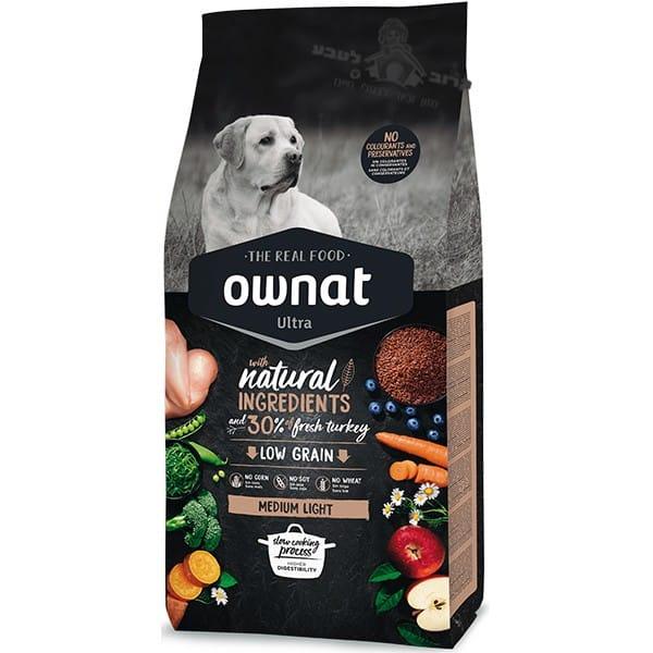 """אוונט – OWNAT אולטרה עוף והודו לייט לכלבים עם עודף משקל 14 ק""""ג"""