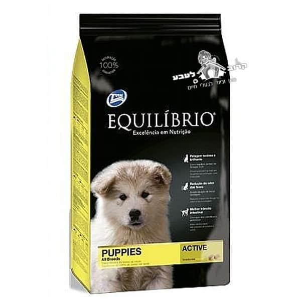 """אוכל לגורי כלבים אקווליבריו גזע בינוני פאפי מדיום 15 ק""""ג"""