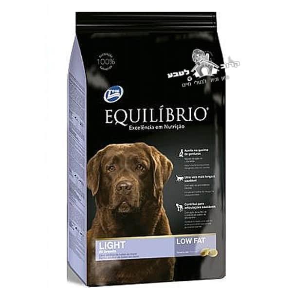"""אוכל לכלבים אקווליבריו גזע בינוני וגדול לייט מופחת שומן 15 ק""""ג"""