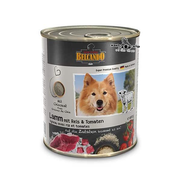 בלקנדו Belcando – שימורי מזון כלבים– כבש אורז ועגבניה 800 גר'
