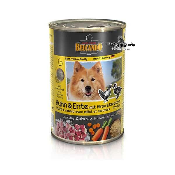 בלקנדו Belcando – שימורי מזון כלבים – נתחי עוף וברווז 800 גר'