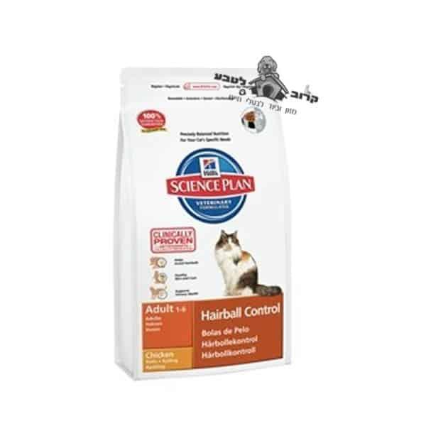 "הילס סיינס פלאן מזון לחתול בוגר נגד כדורי שיער – עוף – 5 ק""ג הילס Hills"