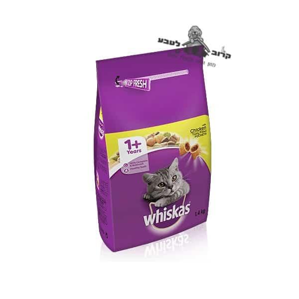 """ויסקאס מזון מלא יבש לחתול – אדולט עוף. שק 1.4 ק""""ג ויסקאס Whiskas"""
