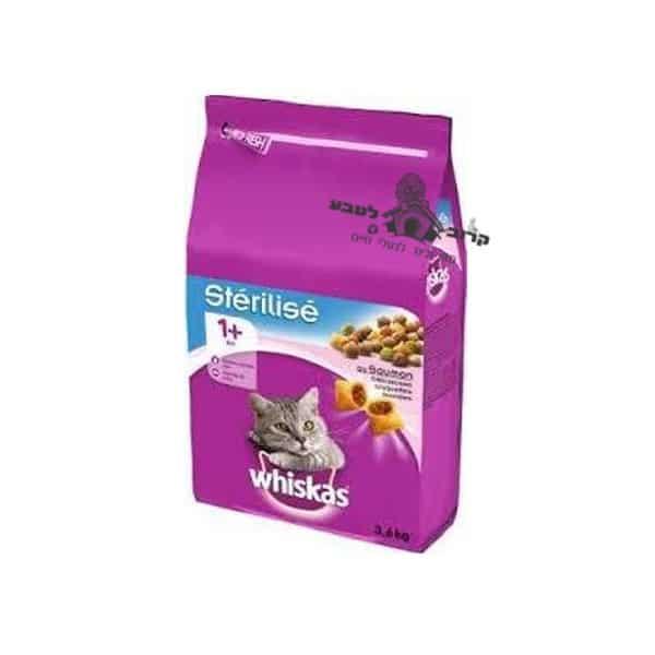 """ויסקאס מזון מלא יבש לחתול מסורס – סטרלייזד עוף. שק 3.6 ק""""ג ויסקאס Whiskas"""