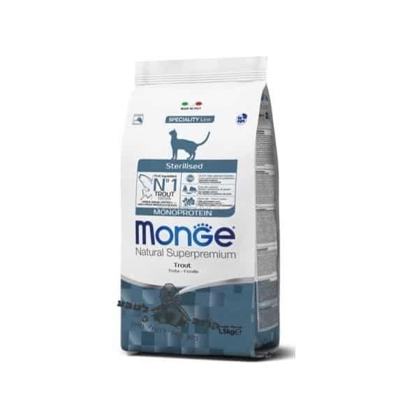 """מונג'-מזון לחתולים מונו סטרילייזד דג פורל לחתולים מסורסים ורגישים 1.5 ק""""ג מונג' Monge"""