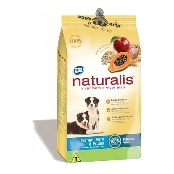 """מזון הוליסטי לגורי כלבים נטורליס הודו עוף ופירות 15 ק""""ג"""