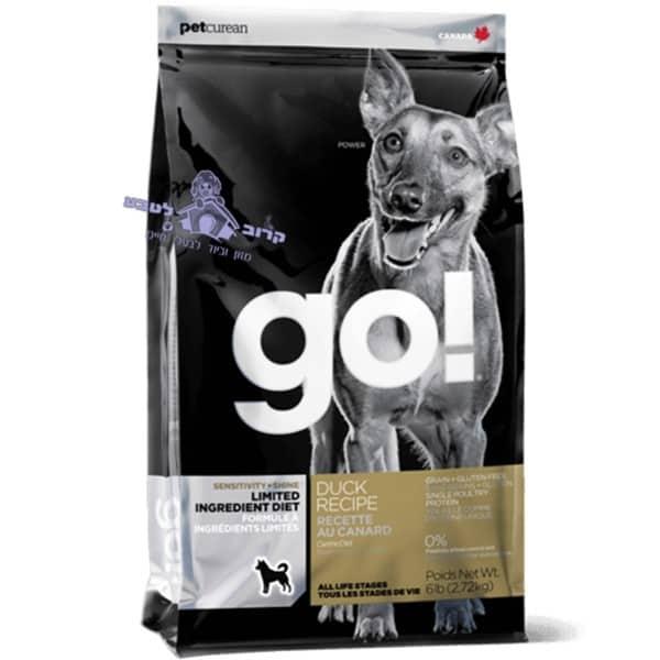 """GO –  גו מזון יבש לכלב ללא דגנים – ברווז – שק 11.34 ק""""ג"""