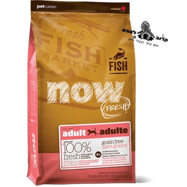 """נאו – NOW – מזון לכלבים בוגרים ללא דגנים – דגים – שק 11.34 ק""""ג נאו NOW"""