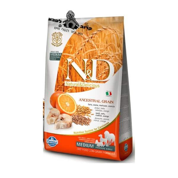 """נטורל אנד דלישס -Natural&Delicious – מזון יבש לכלב בוגר מגזע בינוני עם דג בקלה ותפוז – שק של 12 ק""""ג נאטורל אנד דלישס Natural & Delicious"""