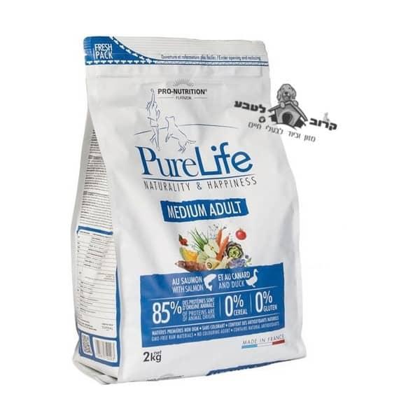 """פיורלייף מזון יבש לכלב בוגר גזע בינוני – אדולט – שק 2 ק""""ג פיור לייף PureLife"""
