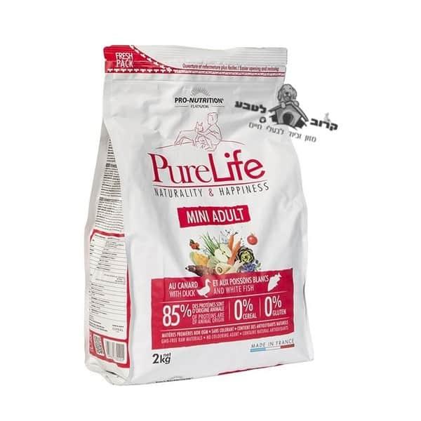 """פיורלייף מזון יבש לכלב בוגר גזע קטן- אדולט מיני – שק 2 ק""""ג פיור לייף PureLife"""