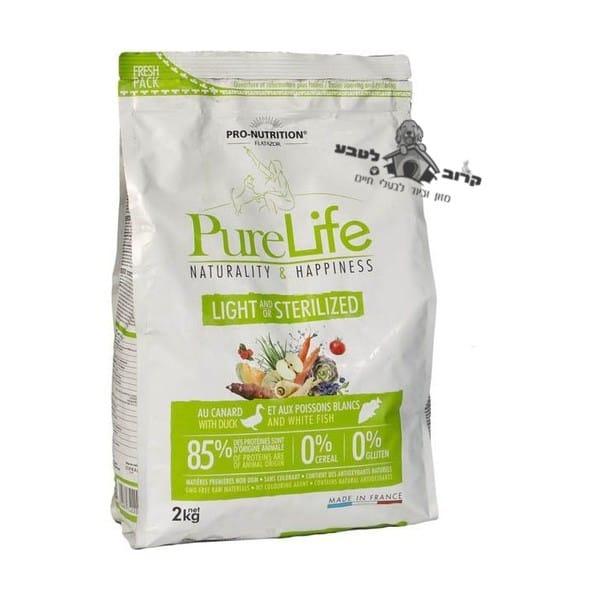 """פיורלייף מזון יבש לכלב – מסורס או מעוקרת – לייט דיאטטי – 2 ק""""ג פיור לייף PureLife"""