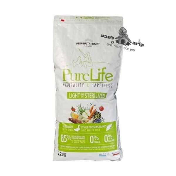 """פיורלייף מזון יבש לכלב מסורס / מעוקרת – לייט דיאטטי – שק 12 ק""""ג פיור לייף PureLife"""