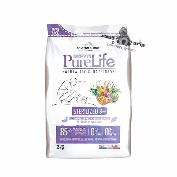 """פיורלייף מזון יבש סטרלייזד לחתול מבוגר עם נטייה להשמנה – שק 2 ק""""ג פיור לייף PureLife"""