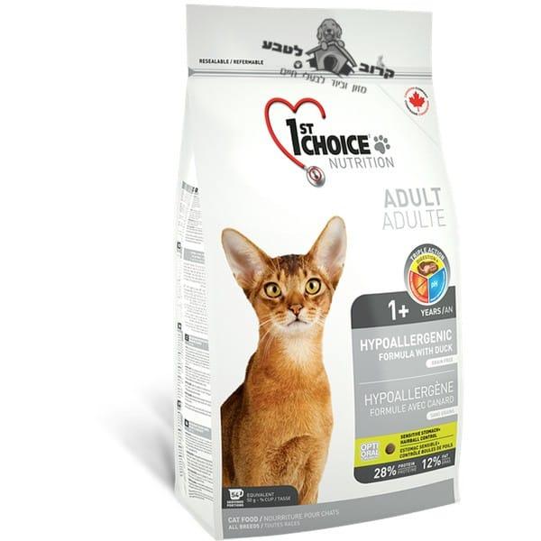 """פירסט צ'ויס היפואלרגני ברווז אוכל לחתולים 5.4 ק""""ג"""