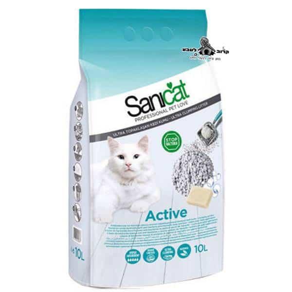 חול לחתולים סאניקט מתגבש אקטיב פחות עקבות 10 ליטר