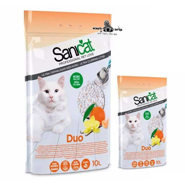חול לחתולים סאניקט אקטיב מתגבש בניחוח הדרים ווניל 10 ליטר 2 יחידות