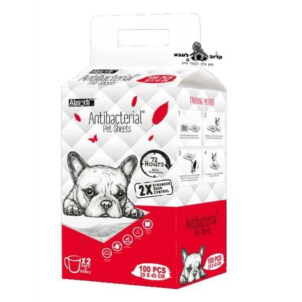 פדים לכלבים אנטיבקטריאליים אבסורב 100 יחידות