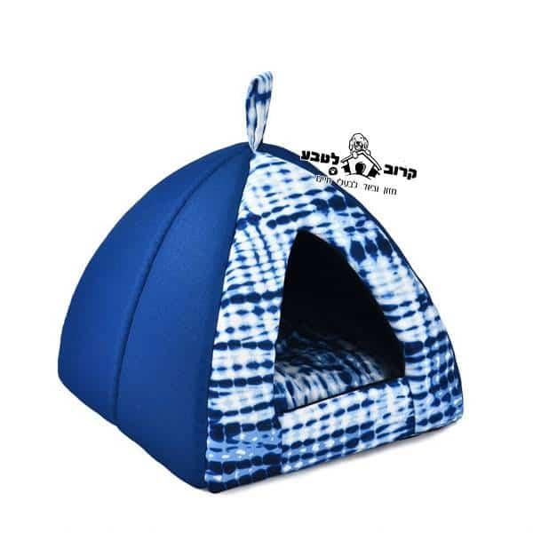 מיטה לכלב איגלו כחול קומפורט
